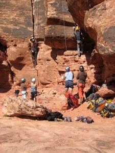 The Group Climbing at Calico Basin